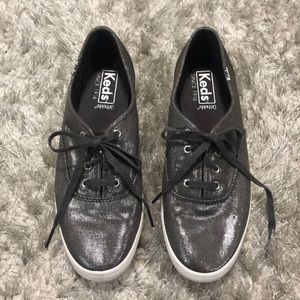 Keds Dark Gray Metallic Linen Shoes